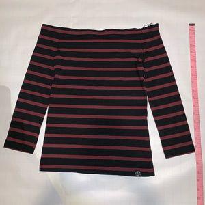 Superdry Off-Shoulder Top Burgundy/Black Stripes